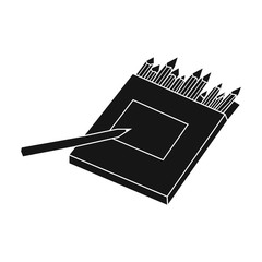 Colored pencils for drawing in box icon in black style isolated on white background. Artist and drawing symbol stock vector illustration.