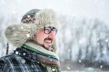 bearded man snow