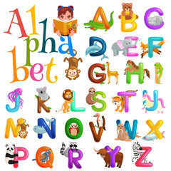 animals alphabet set for kids abc education in preschool.