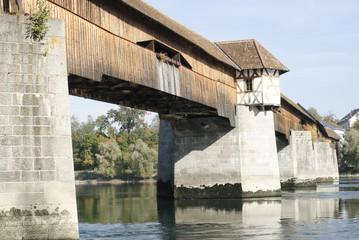 Alte historische Holzbrücke in Bad Säckingen