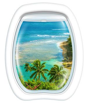 Plane window on Kee Beach, Kauai, Hawaii, United States, from a plane through the porthole. Copy space.