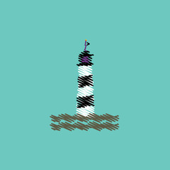 flat vector icon design collection lighthouse and sea