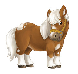 Cartoon happy horse is standing smiling and looking - artistic style - isolated - illustration for children