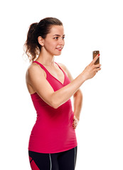 fitness Woman with smartphone taking selfie