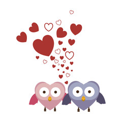 couple of owls holding wings in love vector illustration