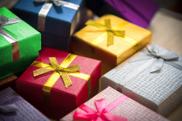 Various color of christmas&happy new year gift boxes stack, rewa