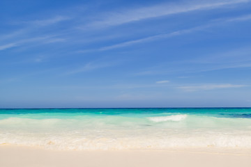 Andaman beach with blue sky in thailand