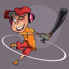 cartoon joyful man with a bat in hand playing baseball