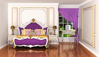 Expensive interior of bohemian bedroom. Luxury bedchamber, textu
