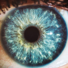 Photo sur Toile Iris Macro eyes blue iris pupil macro oculist