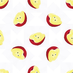 Seamless pattern with apples on the white background