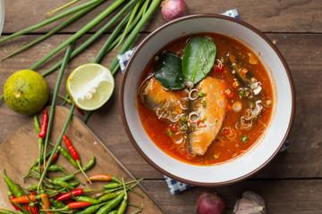 Spicy mackerels salad in tomato sauce