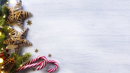 Christmas holidays composition on white wooden background with c