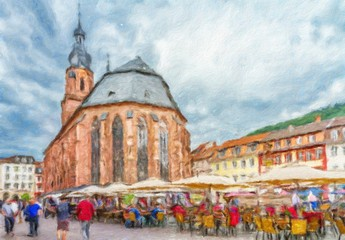 Church of the Holy Spirit in Heidelberg.  Oil painting effect.