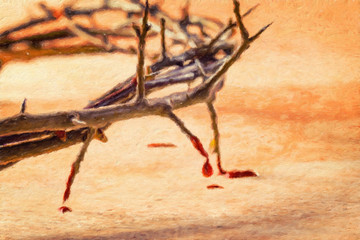 Crown of thorns with blood dripping. Oil painting effect.