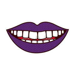 silhouette smiling lips with teeths and tongue vector illustration