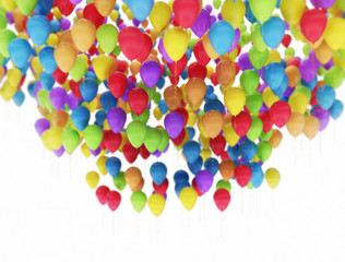 Flying multi color party balloons isolated on white background