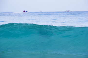Turquoise waves of the South China sea on Hainan island