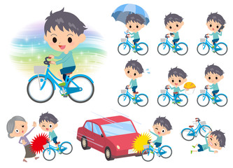 blue clothing boy ride on city bicycle