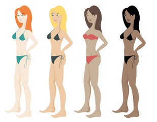 Four beautiful women wearing swim suit with different skin types: white skin, olive skin, brown skin and black skin. Front view, isolated on white background vector image.