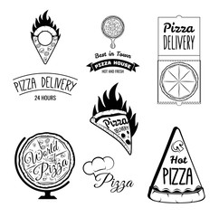 Italian Pizza Labels Set. Badge Pizzeria and Delivery. Design Elements