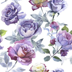 Wildflower rose flower pattern in a watercolor style isolated.