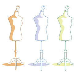 Three vintage mannequins for tailors. Vector illustration isolated on white background.