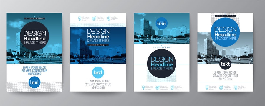 Blue circle shape graphic design template layout for Poster, flyer, brochure, book cover, report.