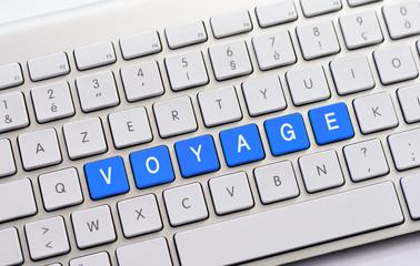 VOYAGE writing on white keyboard