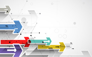 Flow of arrows. Imagination of business or technology process. Vector futuristic  background with great idea