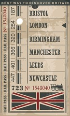Train ticket retro vector illustration with England cities and popular destinations in Great Britain