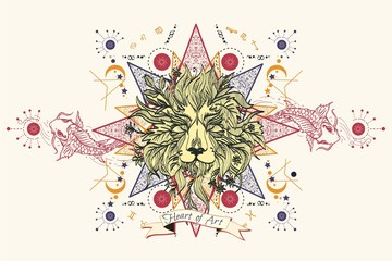Astrology tattoo Lion Head. Mystic Lion sketch tattoo art
