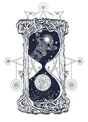 Astronaut floats in the hourglass art, mystic time symbol