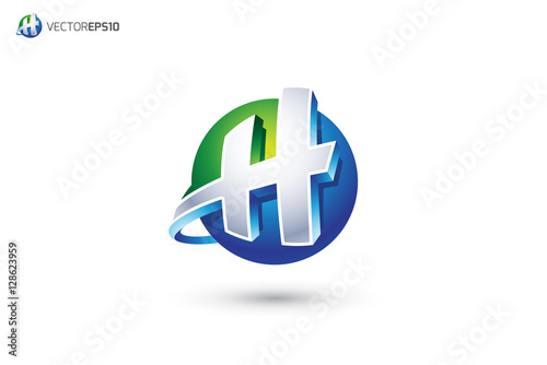 Abstract Letter ...H Logo 3d