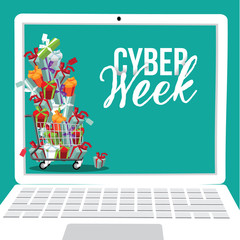 Cyber Week laptop background design. EPS 10 vector/