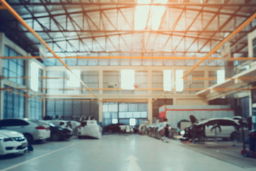 Car repair service centre blurred background