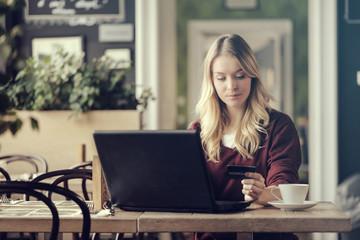 Woman doing e-shopping