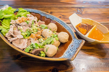 meat balls and beef with spicy sauce, Thai food