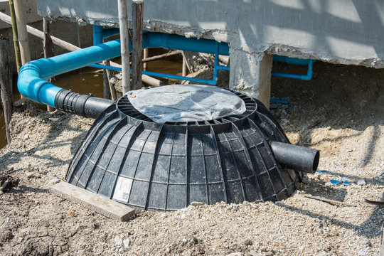 Waste treatment tank or septic tank installation  in construction site