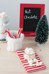 Mini marshmallow, candy cane spoons at a Hot chocolate station.