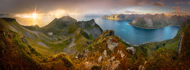 Panoramic View from Husfjellet Mountain on Senja Island during Sunset, Norway