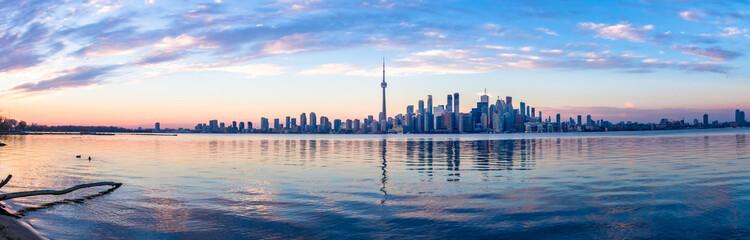 Panoramic view of Toronto skyline and Ontario lake - Toronto, Ontario, Canada