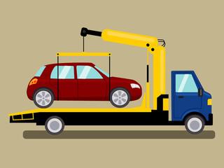 Tow truck takes away car cartoon vector