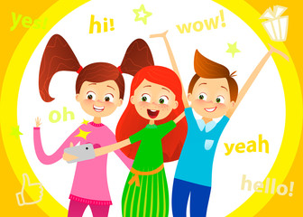 Cartoon children character. Kids smile, make selfie. Happy girls and boy enjoy taking selfie with photo camera. Child photography. Joyful young pupils characters. Cute guy with friends. Vector flat.