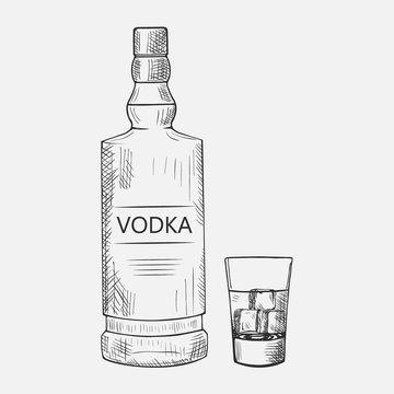 Hand drawn set of vodka elements. Vector illustration. Composition with vodka used for advertising beverage in restaurant or bar menu, for alcohol markets and logo design.