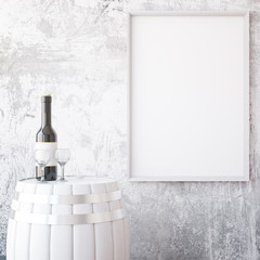 Wine and white frame