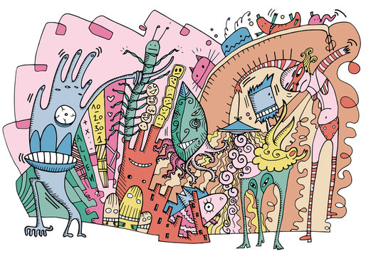 Colorful illustration like doodles, representing an alien world with strange characters. Excess, eccentricity, street art concept. Vector illustration on white background.