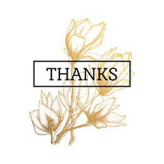 Gold flowers, vector illustration,thanks cards isolated on white background