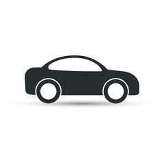 Car icon, vector. Side view. Simple black car sign with shadow.
