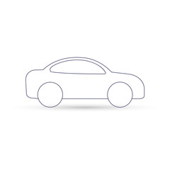 Car icon outline, vector. Side view.